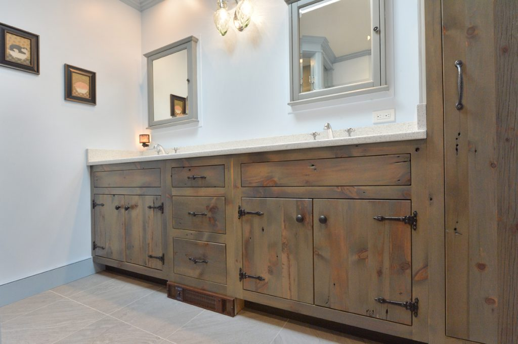 Custom built reclaimed wood vanity