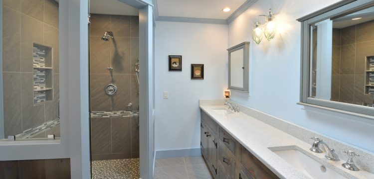 overview of bathroom with custom built reclaimed wood vanity