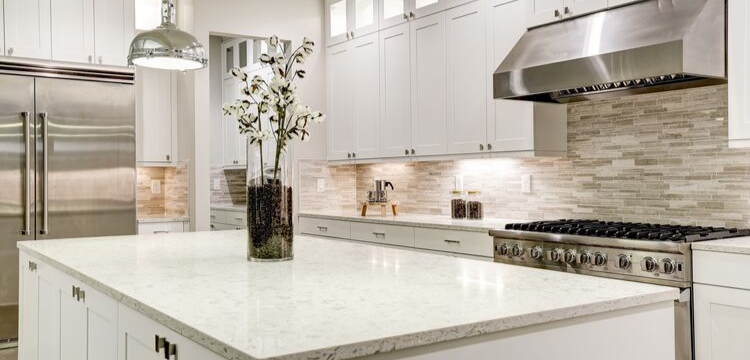 Contemporary All White Kitchen in Hudson Valley NY