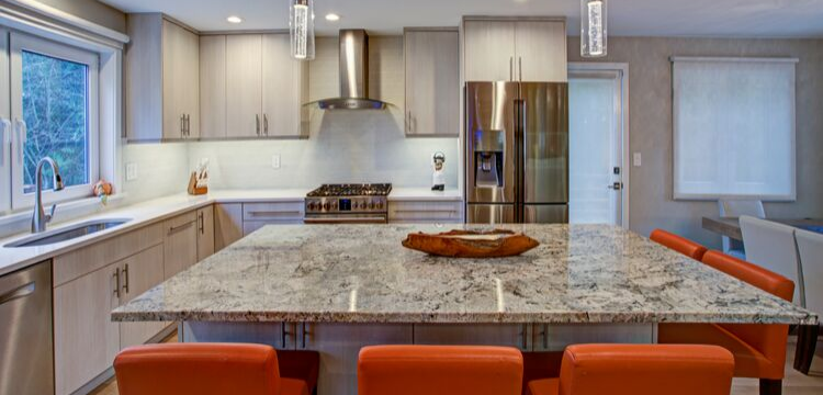 Transitional Kitchen with Oversized Island in Hudson Valley NY